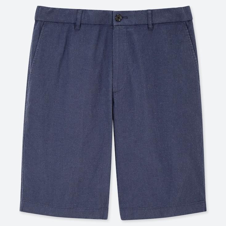 MEN LINEN BLEND SHORTS, BLUE, large