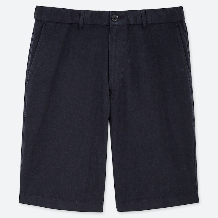 MEN LINEN BLEND SHORTS, NAVY, large