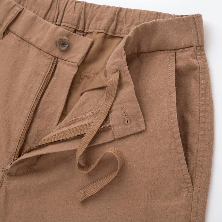 Men Linen Blend Shorts, Brown, Large