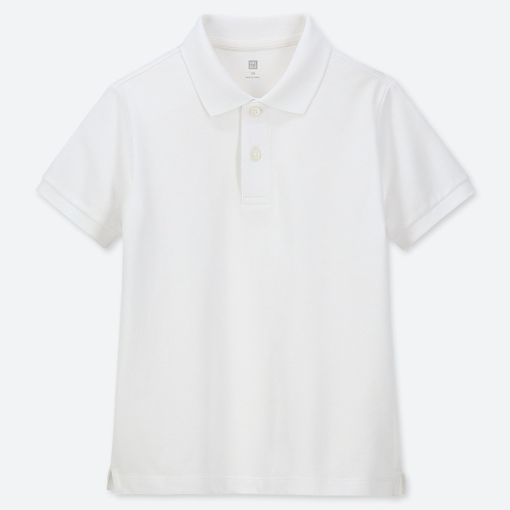 KIDS DRY PIQUE SHORT-SLEEVE POLO SHIRT, WHITE, large