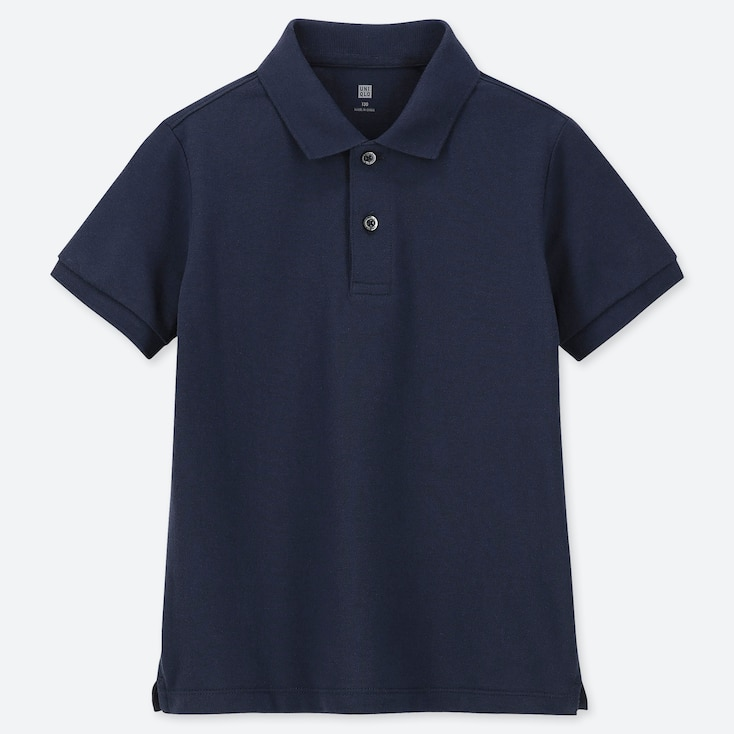 KIDS DRY PIQUE SHORT-SLEEVE POLO SHIRT, NAVY, large