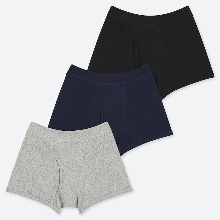 Boys Boxer Briefs (set Of 3), Gray, Large