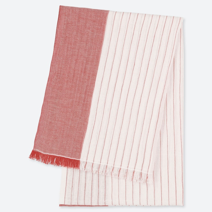 COTTON LINEN STRIPED STOLE, RED, large