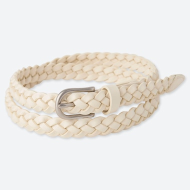 WOMEN MESH SKINNY BELT, OFF WHITE, medium