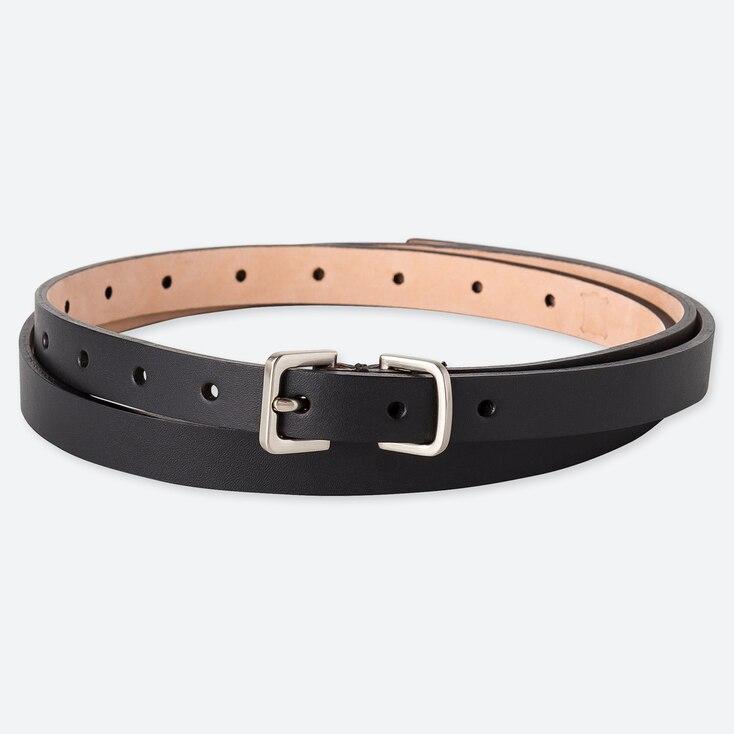 Women Skinny Long Color Belt, Black, Large