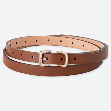 WOMEN SKINNY LONG COLOR BELT, BROWN, medium