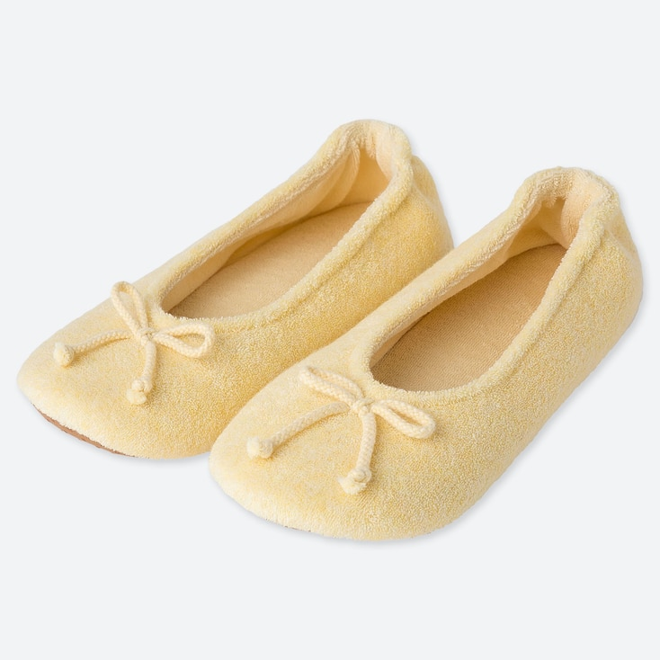 WOMEN PILE BALLET SLIPPERS, YELLOW, large