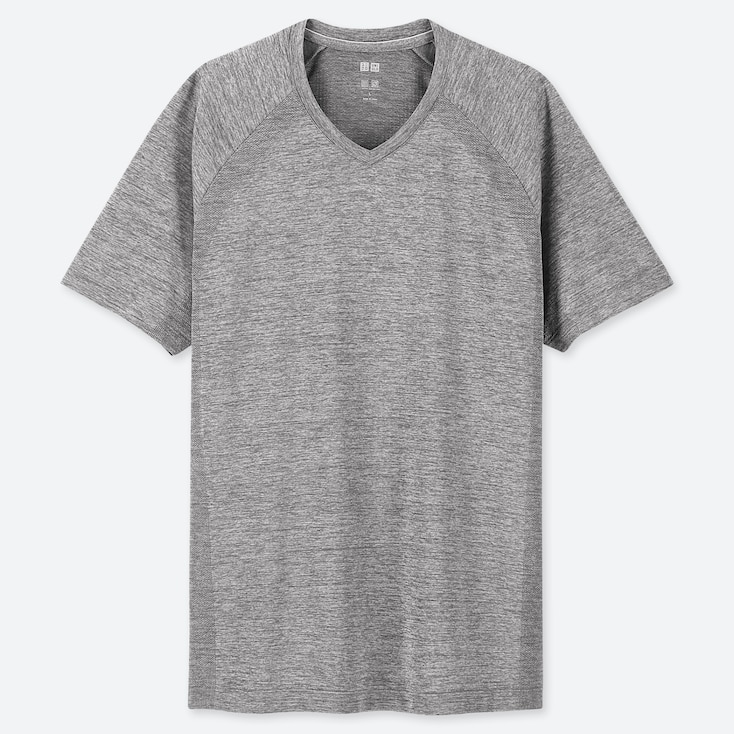 MEN DRY-EX V-NECK SHORT-SLEEVE T-SHIRT (ONLINE EXCLUSIVE), GRAY, large