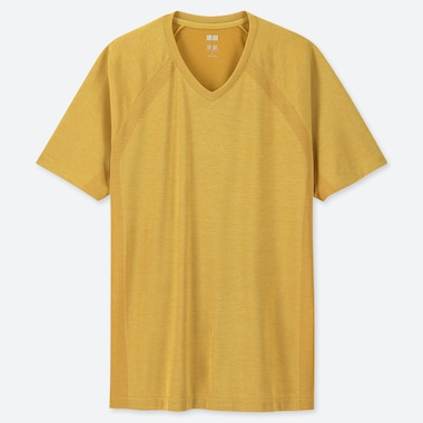 MEN DRY-EX V-NECK SHORT-SLEEVE T-SHIRT (ONLINE EXCLUSIVE), YELLOW, medium