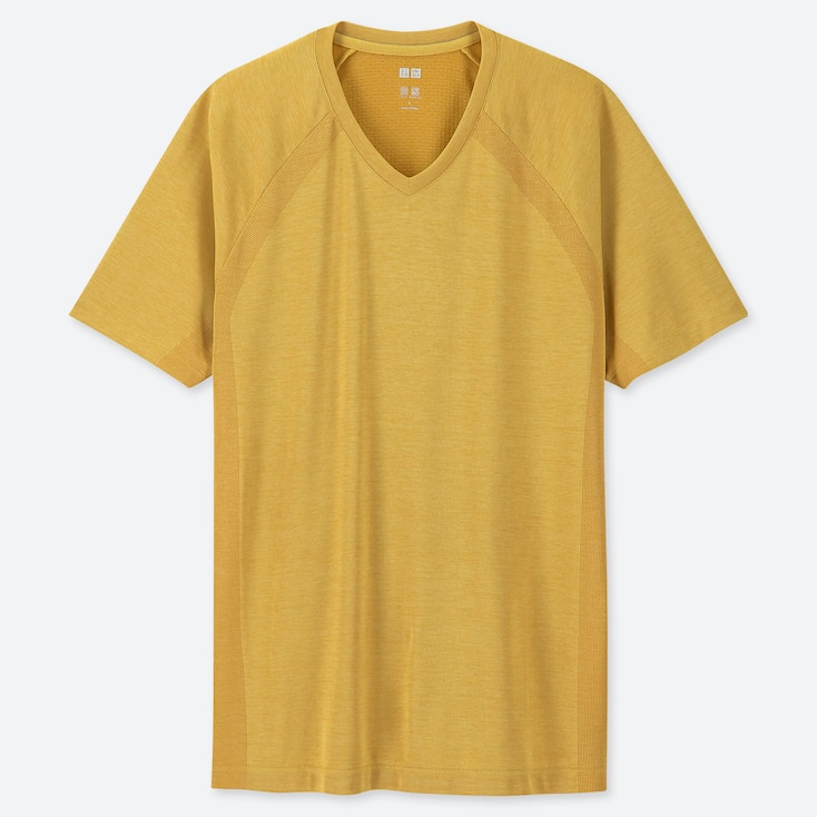 MEN DRY-EX V-NECK SHORT-SLEEVE T-SHIRT (ONLINE EXCLUSIVE), YELLOW, large