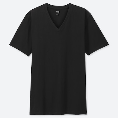Men Supima® Cotton V-Neck Short-Sleeve T-Shirt, Black, Medium