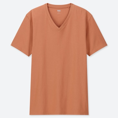 Men Supima© Cotton V-Neck Short-Sleeve T-Shirt, Orange, Medium