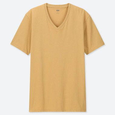Men Supima© Cotton V-Neck Short-Sleeve T-Shirt, Yellow, Medium