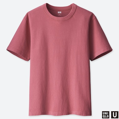 MEN U CREW NECK SHORT-SLEEVE T-SHIRT, PINK, medium