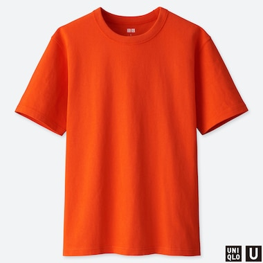MEN U CREW NECK SHORT-SLEEVE T-SHIRT, ORANGE, medium