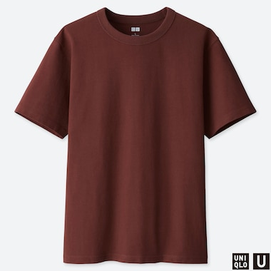 MEN U CREW NECK SHORT-SLEEVE T-SHIRT, BROWN, medium