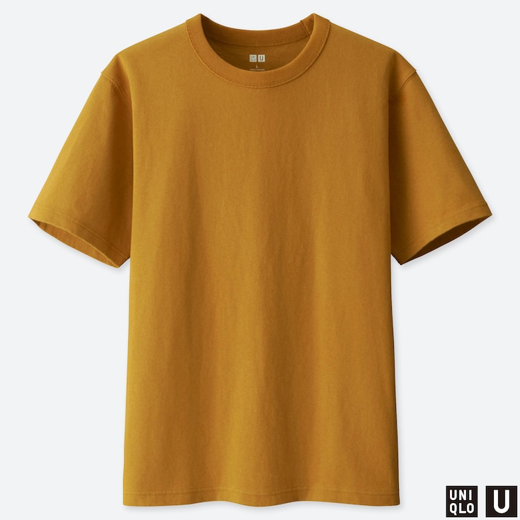 MEN U CREW NECK SHORT-SLEEVE T-SHIRT, YELLOW, large