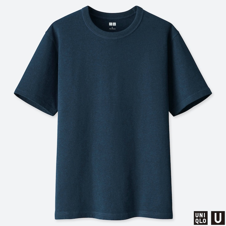 MEN U CREW NECK SHORT-SLEEVE T-SHIRT, NAVY, large