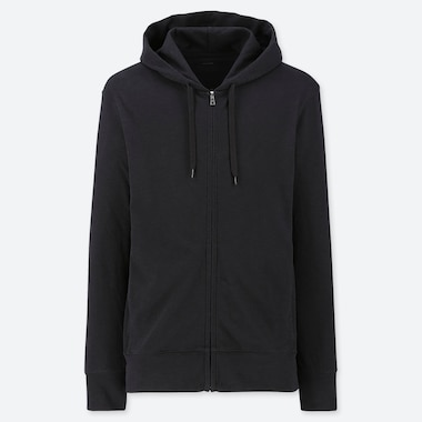 MEN AIRism UV CUT LONG-SLEEVE FULL-ZIP HOODIE, BLACK, medium