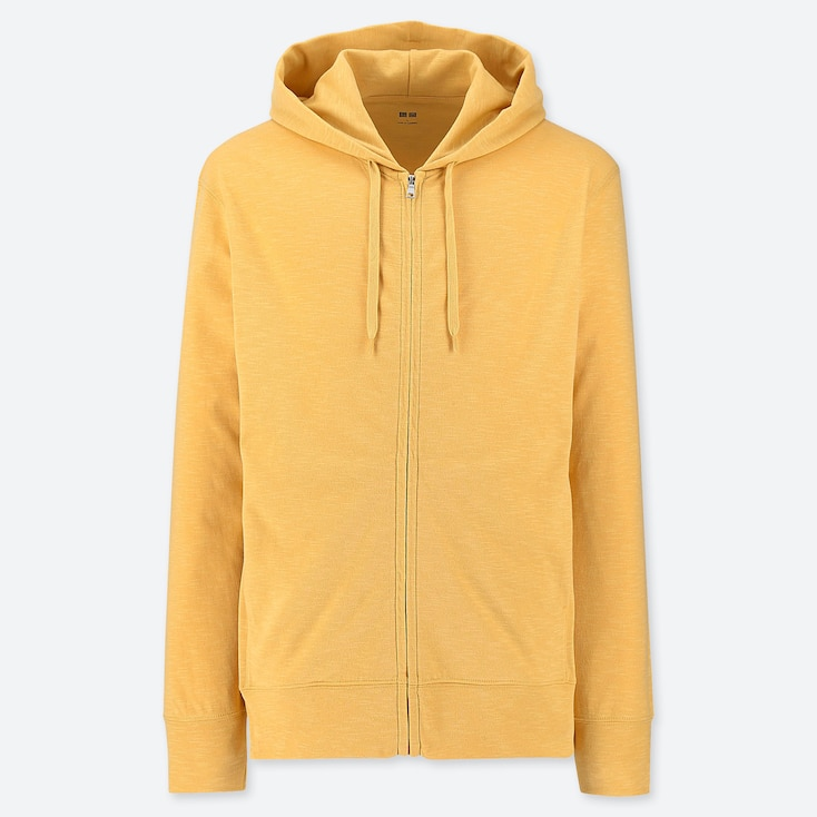 MEN AIRism UV CUT LONG-SLEEVE FULL-ZIP HOODIE, YELLOW, large