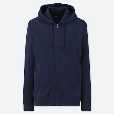 MEN AIRism UV CUT LONG-SLEEVE FULL-ZIP HOODIE, NAVY, medium