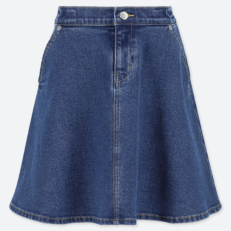 GIRLS DENIM FLARE SKIRT, BLUE, large