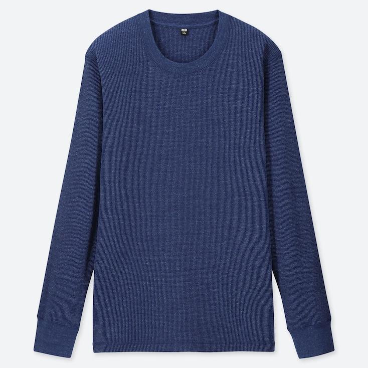 MEN WAFFLE CREW NECK LONG-SLEEVE T-SHIRT, BLUE, large