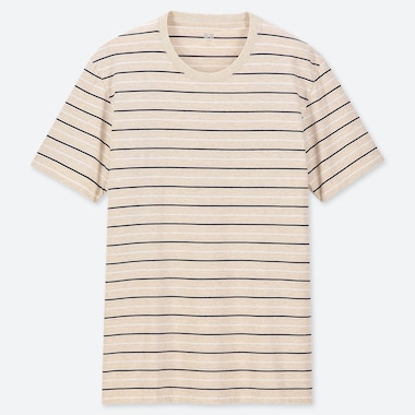 MEN 100% SUPIMA COTTON STRIPED CREW NECK SHORT SLEEVED T-SHIRT