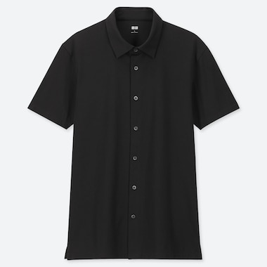 MEN AIRism JERSEY FULL-OPEN POLO SHIRT, BLACK, medium