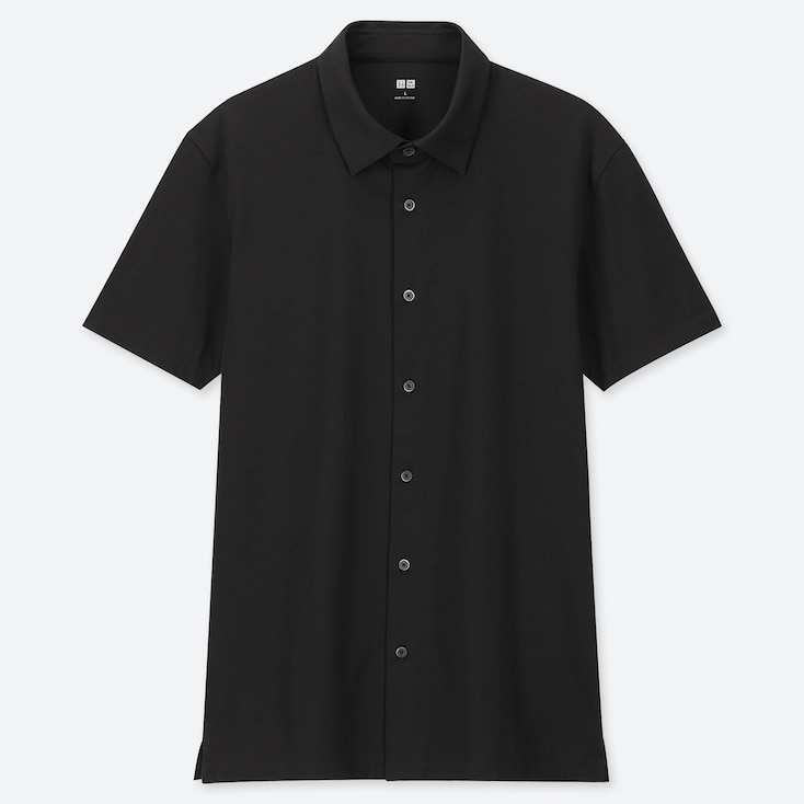 MEN AIRism JERSEY FULL-OPEN POLO SHIRT, BLACK, large