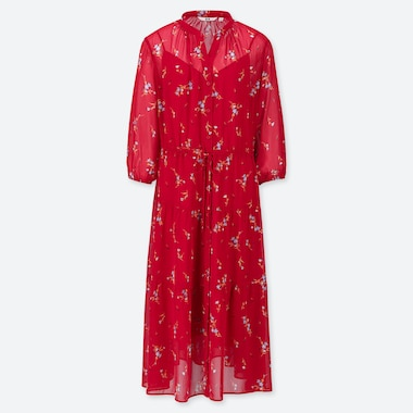 WOMEN CHIFFON PRINTED 3/4 SLEEVE DRESS, RED, medium