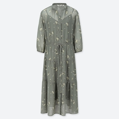 WOMEN CHIFFON FLORAL PRINT 3/4 SLEEVED DRESS