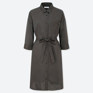 WOMEN LINEN BLEND 3/4 SLEEVED SHIRT DRESS