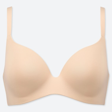 Women Beauty Light Wireless Bra, Beige, Medium