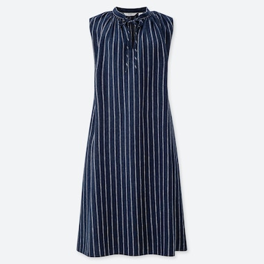 WOMEN LINEN BLEND STRIPED SLEEVELESS DRESS
