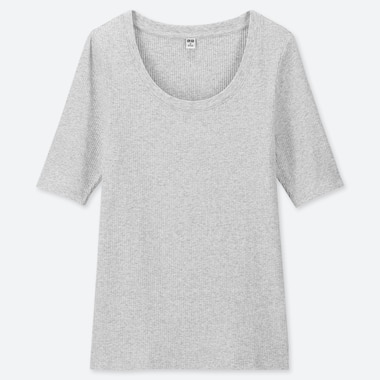 WOMEN RIBBED U-NECK HALF SLEEVED T-SHIRT