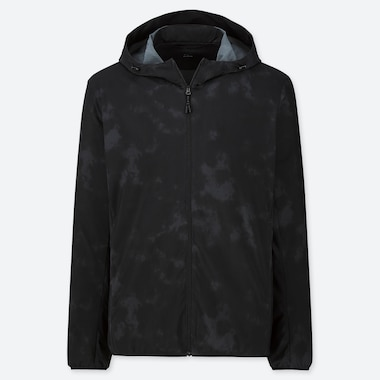 MEN PRINTED HOODED POCKETABLE PARKA