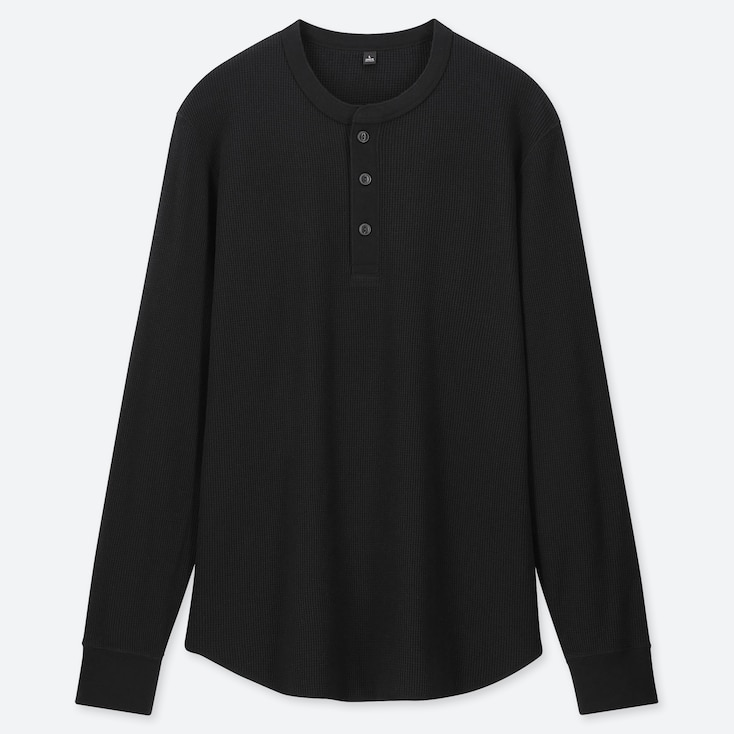 MEN WAFFLE HENLEY NECK LONG-SLEEVE T-SHIRT, BLACK, large