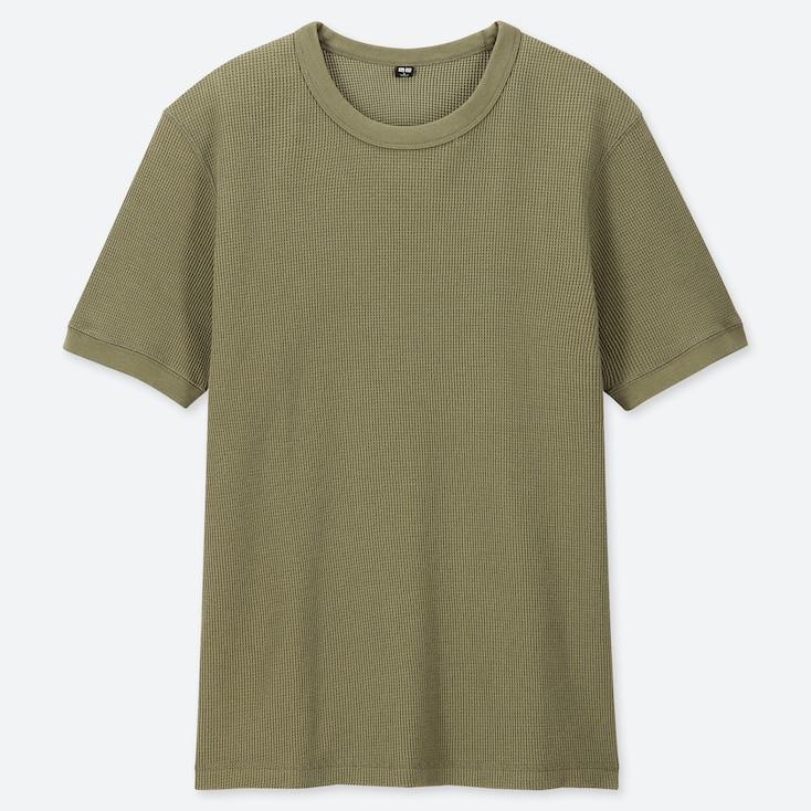MEN WAFFLE CREW NECK SHORT-SLEEVE T-SHIRT, GREEN, large