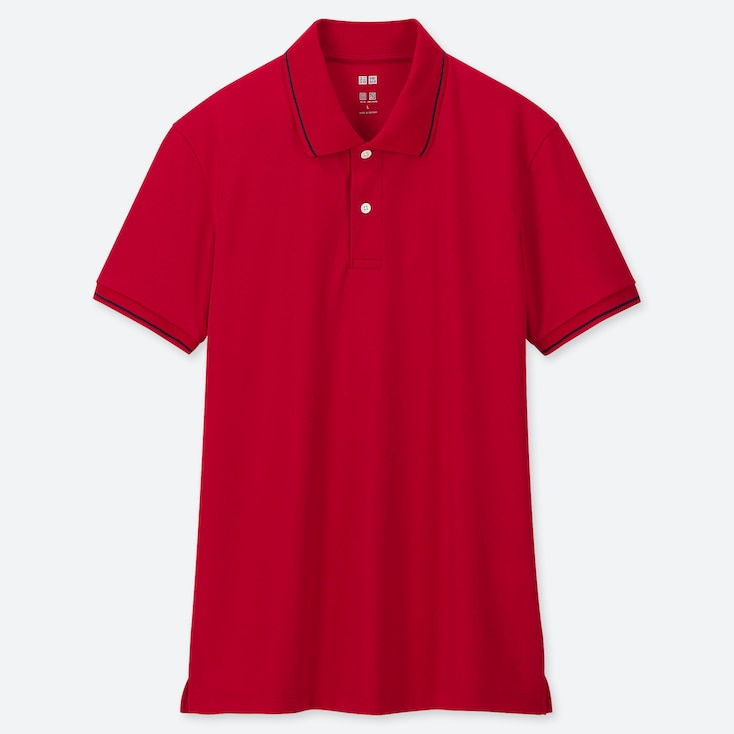 MEN DRY-EX PIQUE SHORT-SLEEVE POLO SHIRT, RED, large