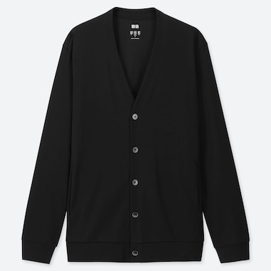 MEN AIRism UV CUT CARDIGAN, BLACK, medium