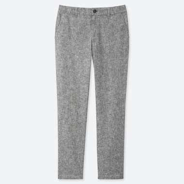WOMEN LINEN BLEND TAPERED TROUSERS (L28)