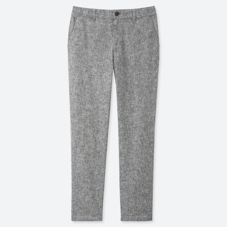 WOMEN LINEN BLEND TAPERED TROUSERS