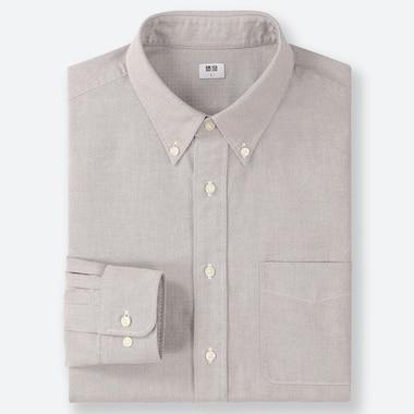 MEN OXFORD REGULAR-FIT LONG-SLEEVE SHIRT, GRAY, medium