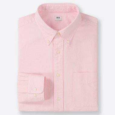 MEN OXFORD REGULAR-FIT LONG-SLEEVE SHIRT, PINK, medium