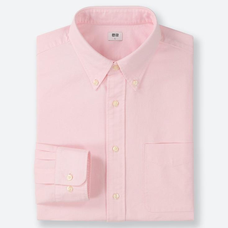 MEN OXFORD REGULAR-FIT LONG-SLEEVE SHIRT, PINK, large