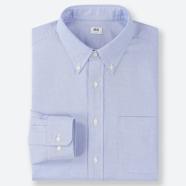 MEN OXFORD REGULAR-FIT LONG-SLEEVE SHIRT, BLUE, medium