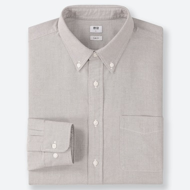 MEN OXFORD SLIM-FIT LONG-SLEEVE SHIRT, GRAY, medium