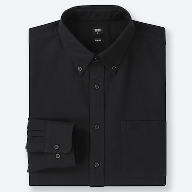 Men Oxford Slim-Fit Long-Sleeve Shirt, Black, Medium