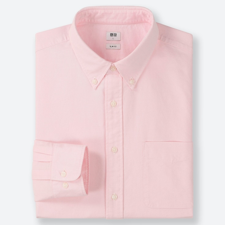 MEN OXFORD SLIM-FIT LONG-SLEEVE SHIRT, PINK, large